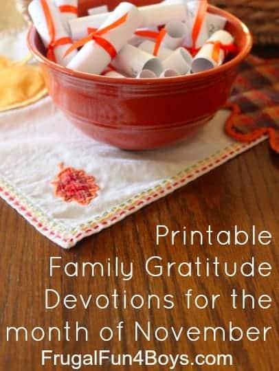 Family Gratitude Devotionals for November #family #fall #fun