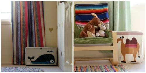 Putting toy baskets and chests where children naturally put things makes for easy clean up and effortless organization