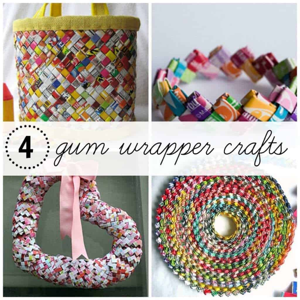 After your kids are done chewing their gum, here are 4 awesome crafts using chew gum wrappers!