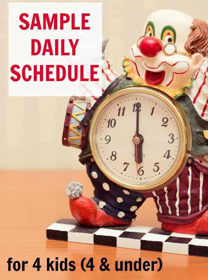 Sample daily schedule for four kids 4 and under