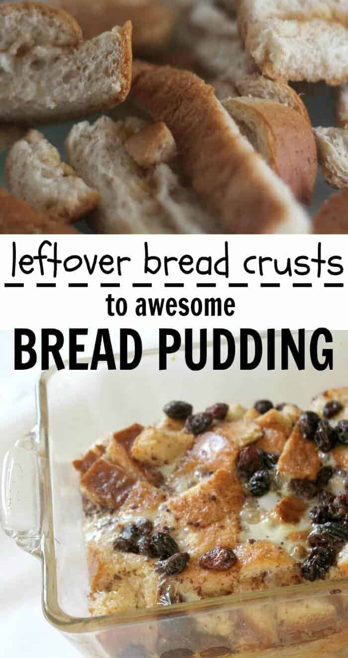 Leftover bread crusts to awesome bread pudding