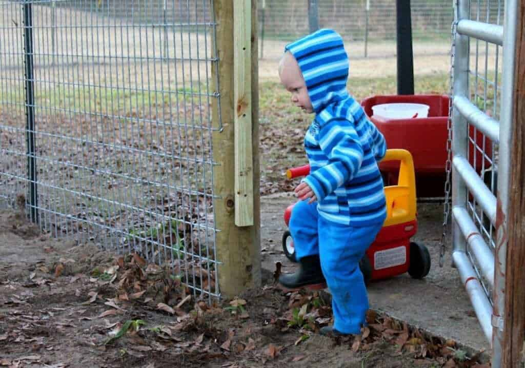 child playing on its own outside