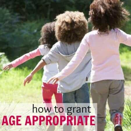 How to give age appropriate privileges to kids close in age