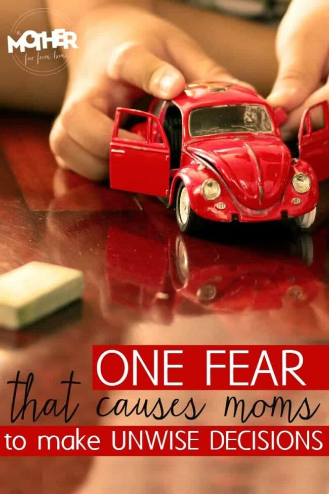 This fear keeps moms from making wise decisions. Great read for mothers of toddlers, preschoolers, and elementary aged kids.