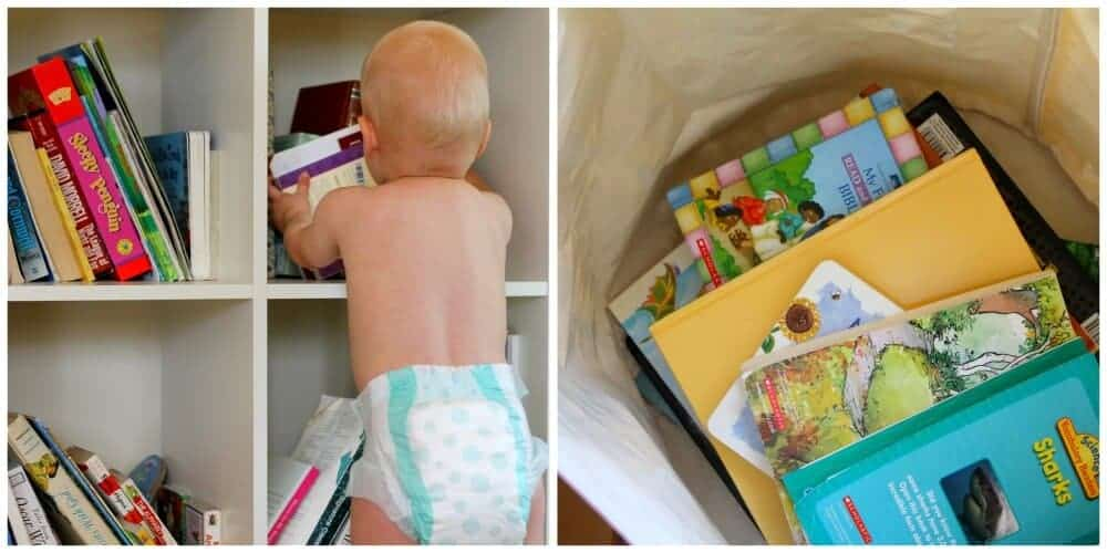 toddler gathering books and books in bag