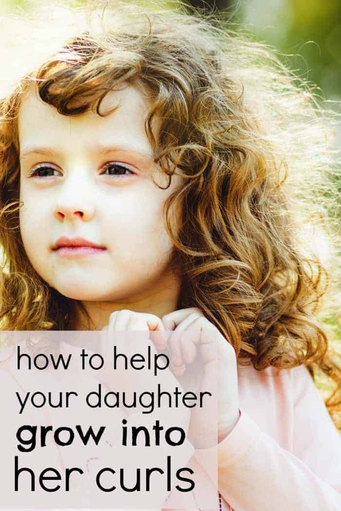 "How to help your daughter ""grow into"" her curls and love her curly hair. Plus some tips and tricks to make managing curly hair a lot easier."