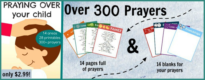 Over 300 prayers to pray for your child including printables and blank pages for your own prayers!
