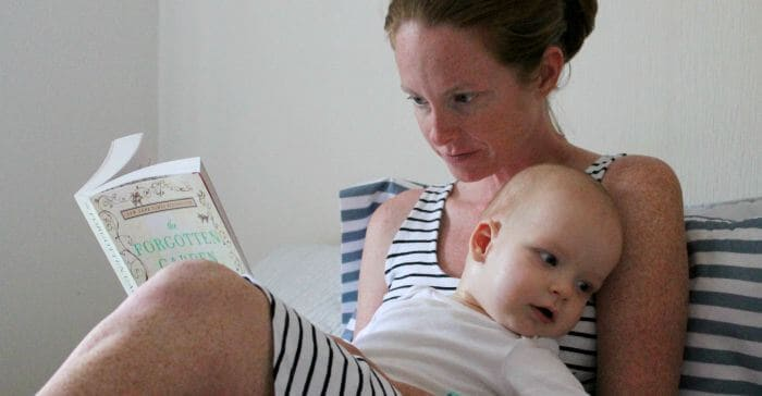 reading a book with a baby