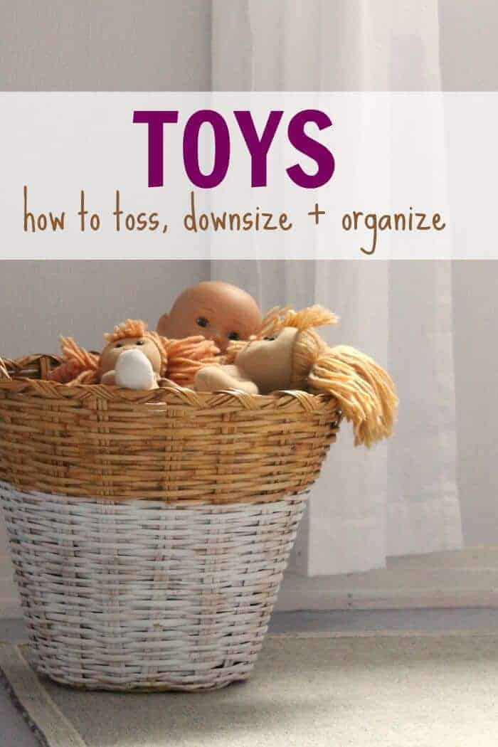 Tips and tricks on how to toss, downsize, and organize the toys in your home. Moms of little children who want less clutter and toys should read.
