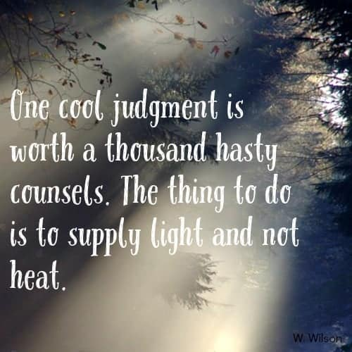 one cool judgement is worth a thousand hast counsels. the thing to do is to supply light and not heat.