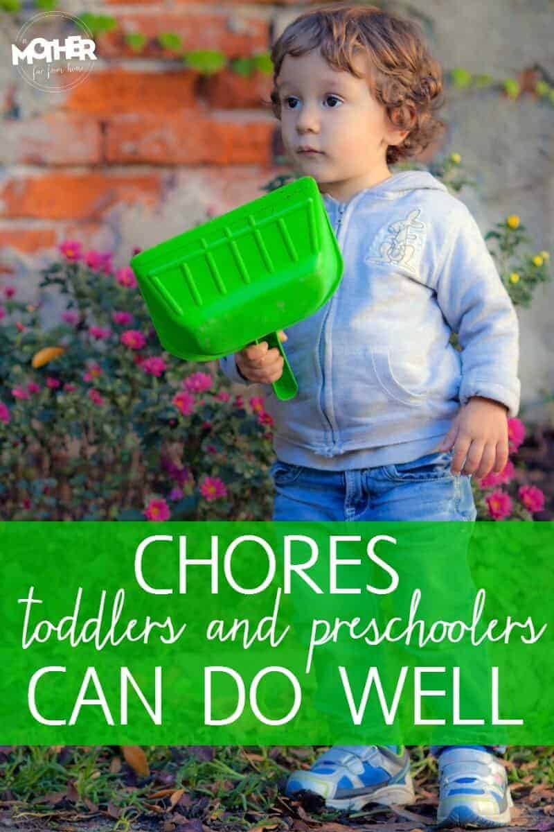 Want to start chores with your little ones but aren't sure what they can realistically do? Here are some chores toddlers and preschoolers can actually do well.