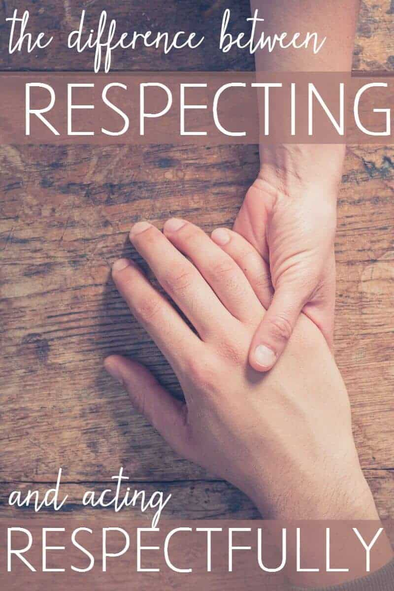Did you know there's a difference between acting respectfully and respecting? It's how you can love the sinner and hate the sin.