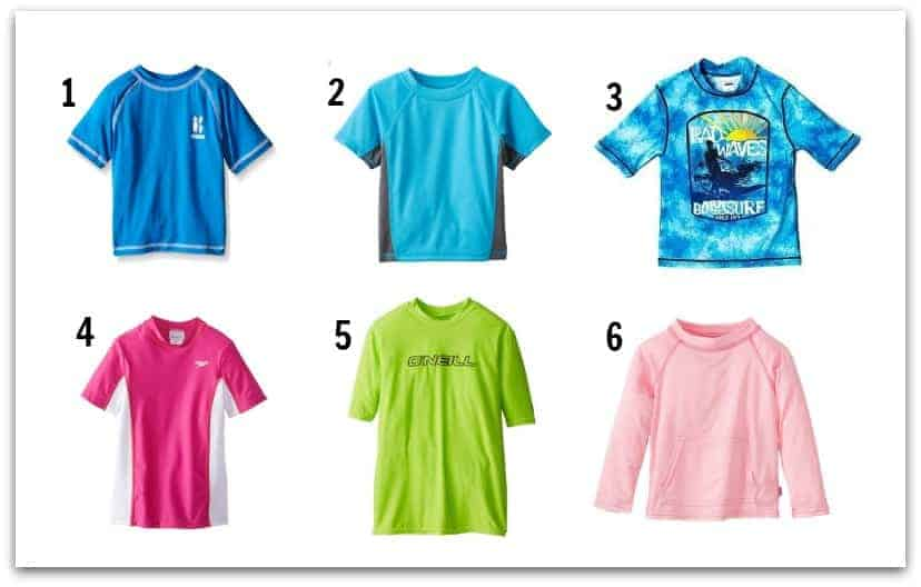 Want inexpensive rash guard or sunblock shirts for kids? Try these!