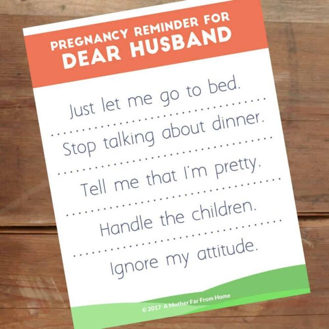 Dear Husband, This is What Pregnancy