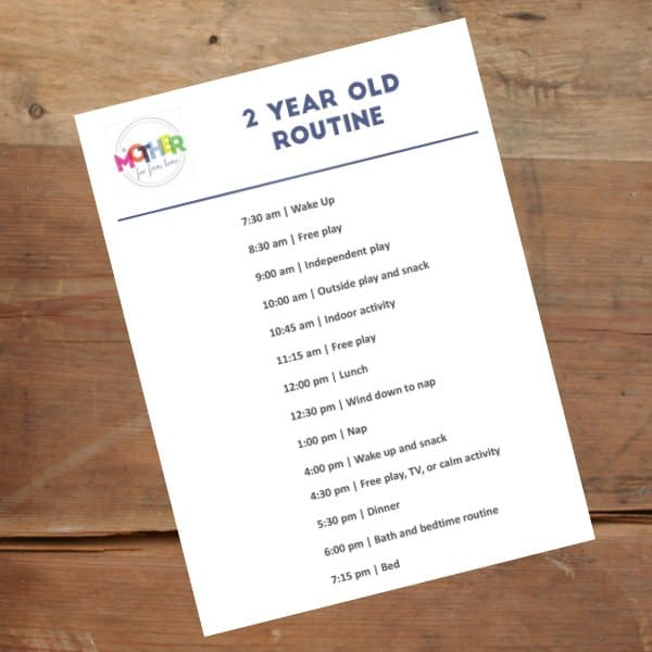 2 year old routine sample printable, 2 year old printable routine