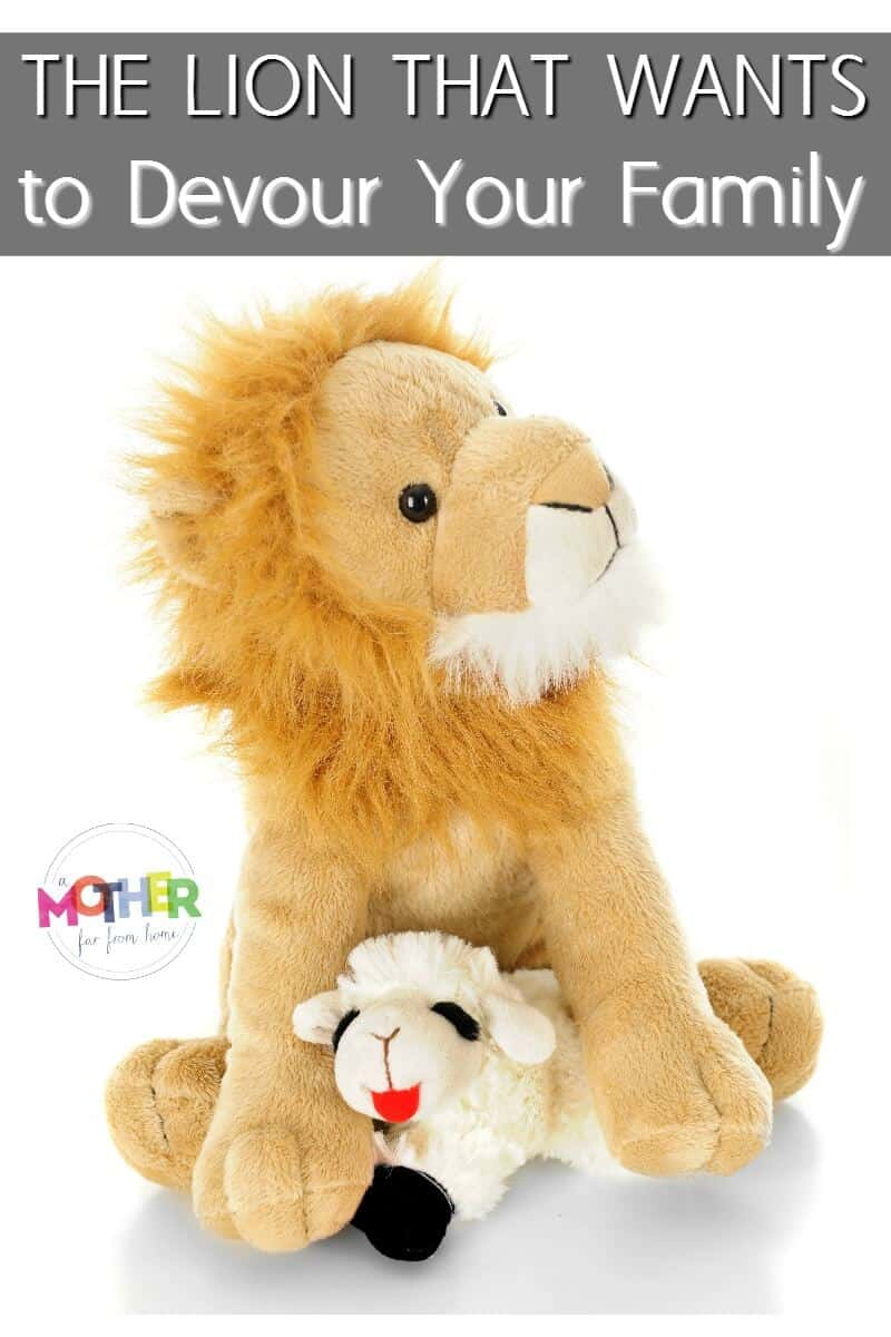 the lion that wants to devour your family pin