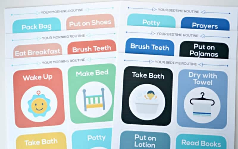 Printable school morning routine cards that'll help teach kids to get ready on their own