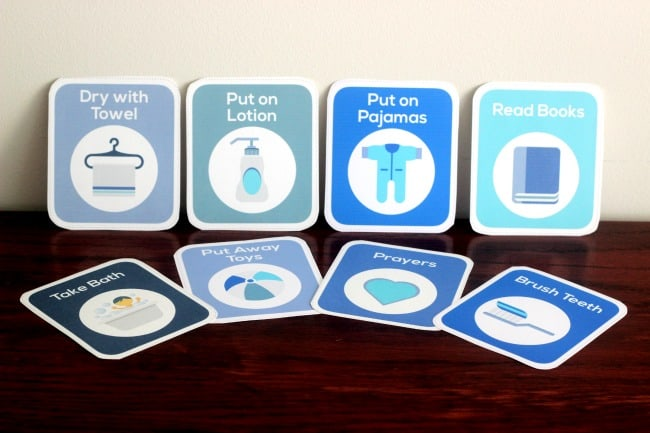 printable bedtime routine cards for toddlers