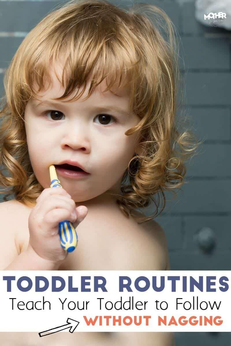 toddler brushing teeth on a routine