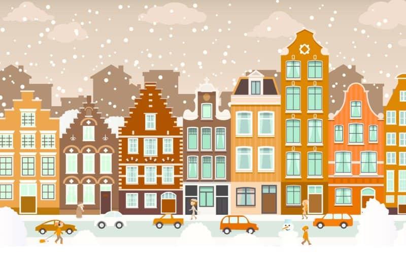 cartoon city when it's snowing