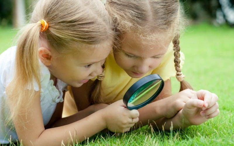 two girls examining the great outdoors