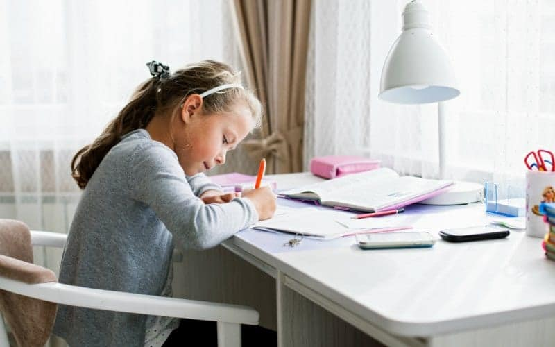 after school routines, girl doing homework