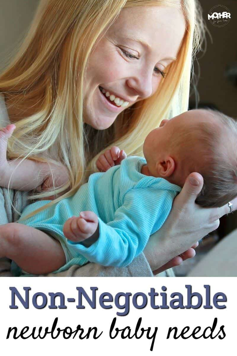 You might be surprised what the non negotiable newborn baby needs are. They are cheap, in fact, nearly free!