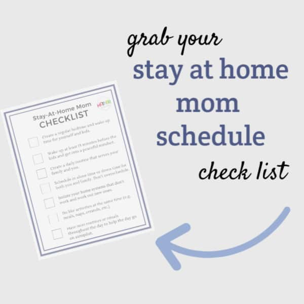 stay at home mom schedule printable checklist