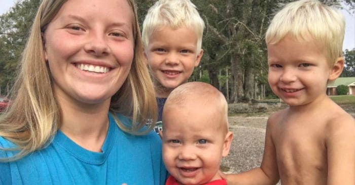 A mother's helper with 3 cute blonde tan boys