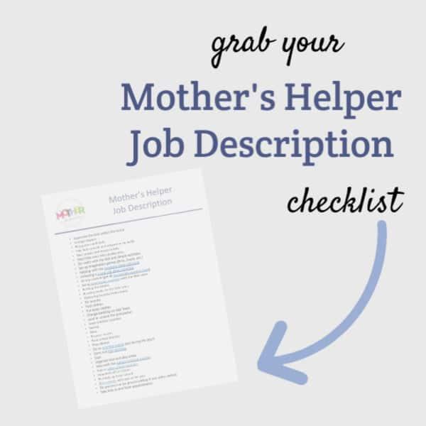 a mother's helper job description downloadable printable