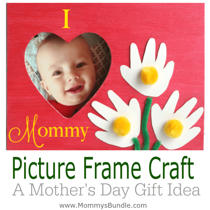 Handprint Flower Picture Frame to Make for Mom
