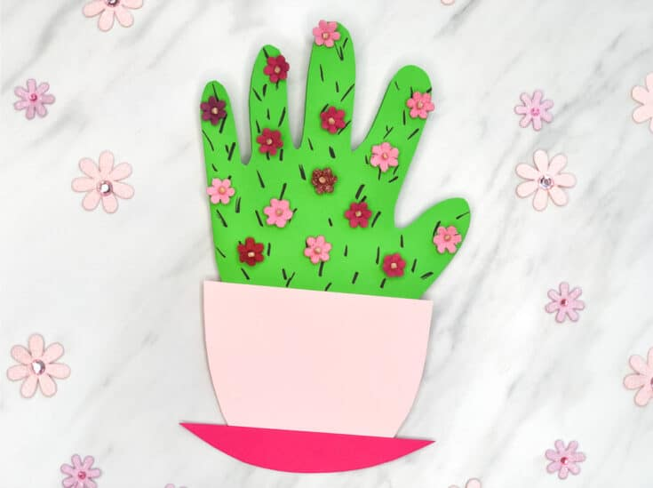 Handprint Cactus DIY Mother's Day Card