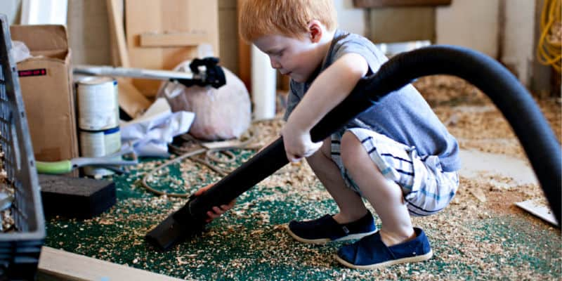 child learning life skills at home in an activity