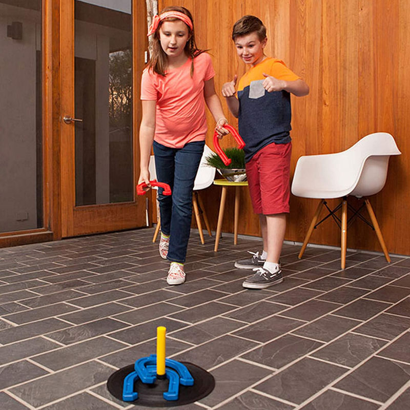 a horseshoe set perfect for little kids to play in their backyard